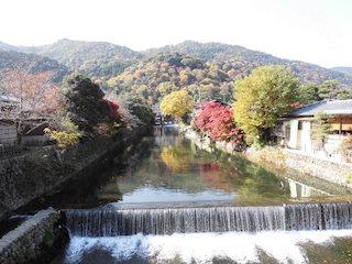嵐山の紅葉名所の景色