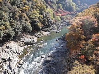 保津峡駅の保津川の紅葉の風景